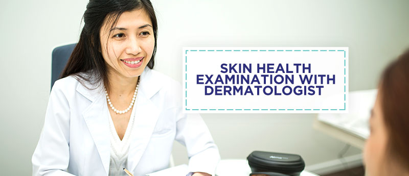 Skin health examination with dermatologist